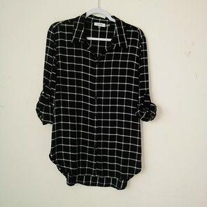 calvin klien black plaid botton down shirt